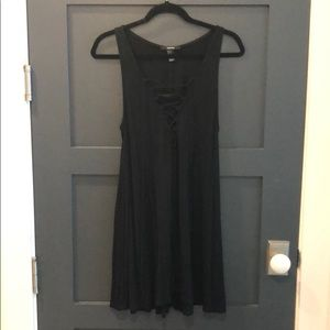 Forever21 Black Lace Front Mini Swing Dress Jersey